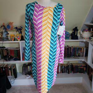Lularoe Chevron Striped Debbie Dress S NWT